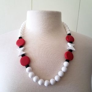 Jewelry - 1980s Red, White, Black Chunky Bead Necklace